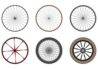 Set of bicycle and other vehicle wheels.