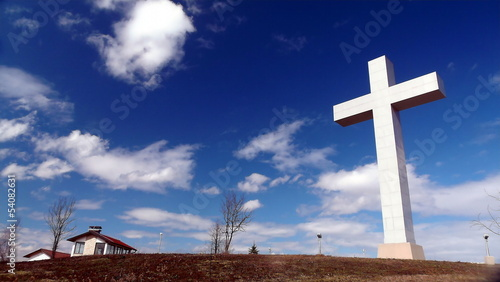 cross, medugorje, medjugorje, sky, religion, sculpture