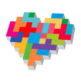 Tetris heart. Love typography. Love game. Heart of color pixels.