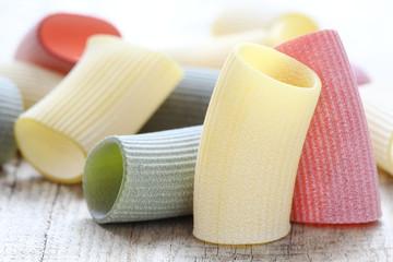Italian cuisine concept - pasta tricolore like Italian flag