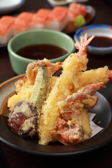 Tempura Shrimps and Crab tempura with Vegetables. Japanese Cuisi