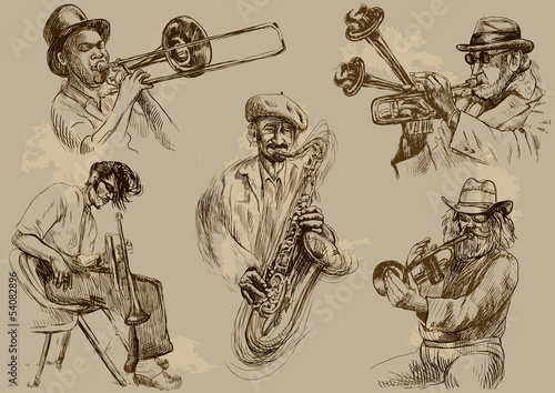 Musicians - Hand drawings illustrations into vector set