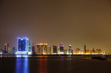 Spectacular illuminated HDR photograph of Juffair skyline