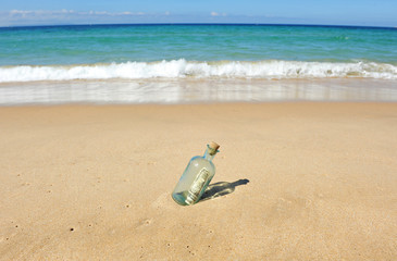 Dollars in a bottle on the beach