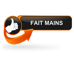 fait mains sur bouton web design orange