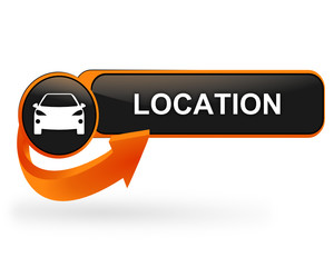 location voiture sur bouton web design orange