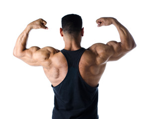 Back double bicep pose of male bodybuilder