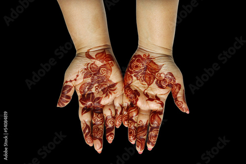 Beautiful decorated hands with Henna
