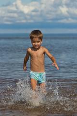 child runs on water