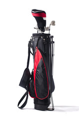 Black and red golf bag, isolated