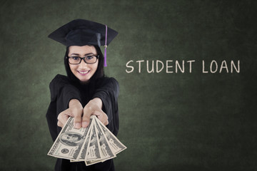 Female graduate paying student loan