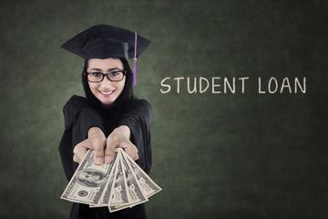 Female graduate paying student loan