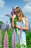 Teenage girl smelling lupine flowers