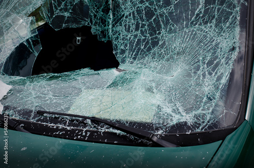 Smashed windshield of wrecked car