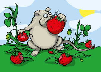 Cartoon greedy mouse eating a strawberry
