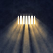 Prison cell interior , barred window - 54087488