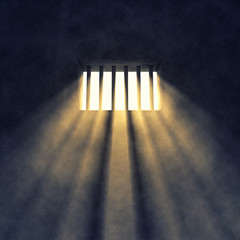 Prison cell interior , barred window