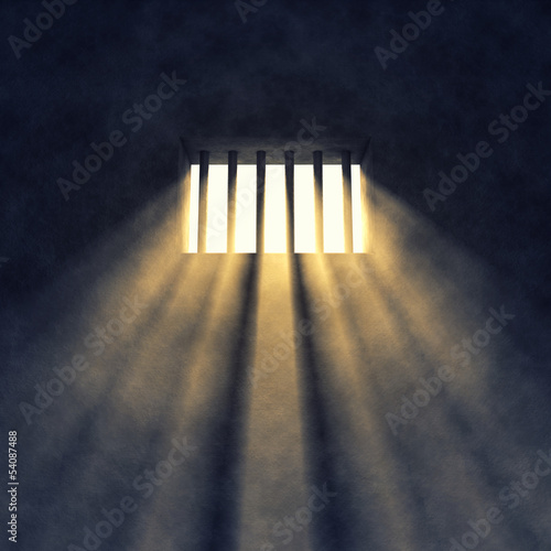 Prison cell interior , barred window