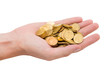 A handful of gold coins on the palm of your hand