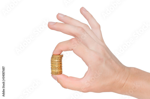 Golden coins and hand isolated on white background