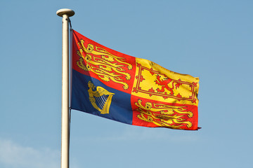 British royal standard flag on flagpole