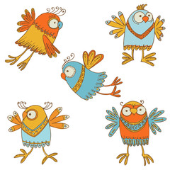 Сute Birds - for design, baby scrapbook - in vector