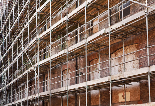 scaffold on old building