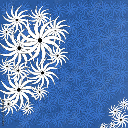 Floral background blue white