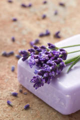 Violet soap with fresh lavender flowers
