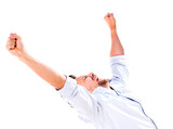 Successful man with arms up