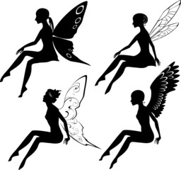Four silhouettes of fairies