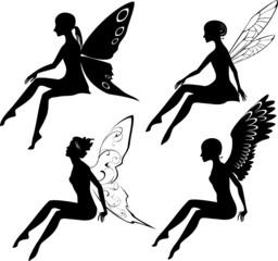 Four silhouettes of fairies