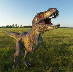 t rex on grass