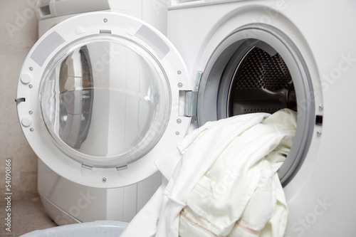 Dirty clothes in a washing machine