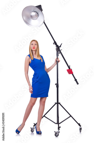 Model in the studio on white