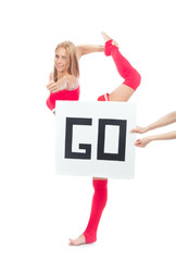 Cheerleader woman dancer show thumb up with text board