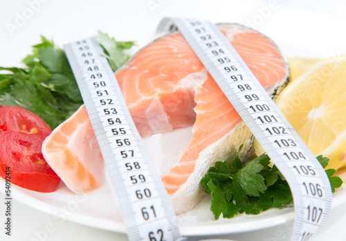 Diet weight loss concept. Fresh salmon steak