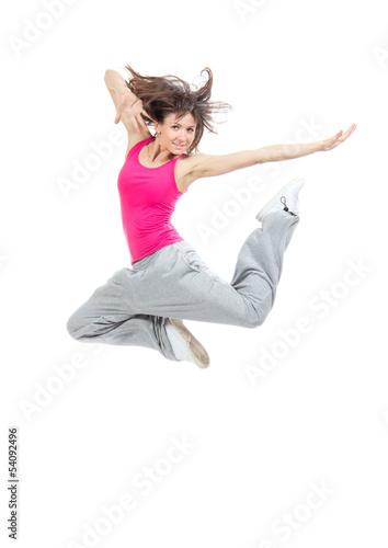 modern slim hip-hop style teenage girl jumping dancing - 54092496