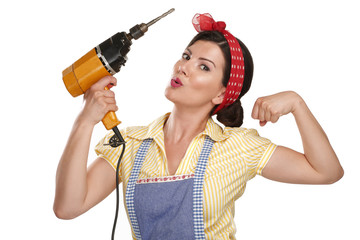 pretty funny girl  struggling with some housework