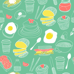 Food seamless pattern. Hand drawn vector theme