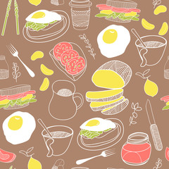 Breakfast seamless pattern. Hand drawn vector