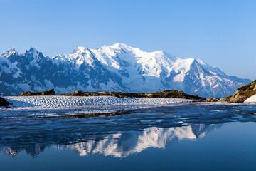 Le Mont Blanc et le Lac des Chezerys