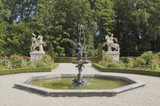 Formal garden with fountain and sculptures