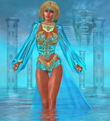 Ocean Goddess Standing In Water