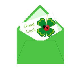 Postal con tarjeta de trébol de cuatro hojas para Buena Suerte