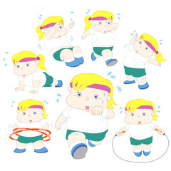 illustration of overweight girl fitness collection
