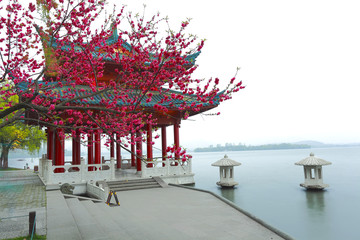 The red pavilion Ancient building next to West Lake in Hangzhou