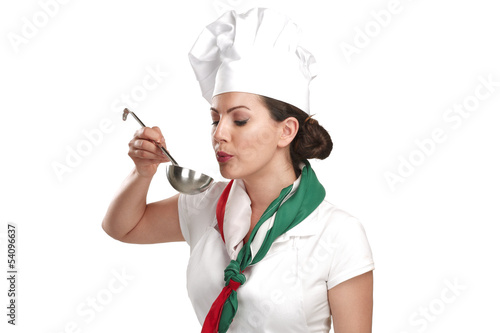 young woman chef showing ingredients for italian food