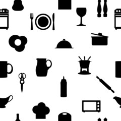 Kitchen tools icons Silhouette seamless pattern Vector illustrat