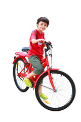 Young asian boy on the bike